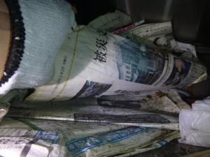 レジ下に乱雑に置かれた新聞紙にチャバネゴキブリ生息